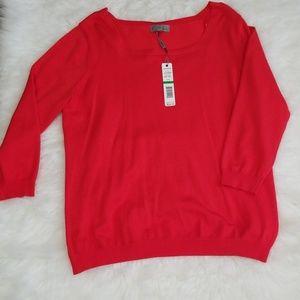 Joseph A. Red square neckline top. Size L